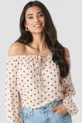 NA-KD Boho Off Shoulder Dot Blouse - Pink,Multicolor