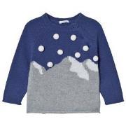 Il Gufo Blue Mountain Intarsia Pom Pom Sweater 6 months