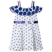 Dr Kid Spot Bardot Dress Blue and White 3 years