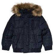 IKKS Navy Padded Puffer Coat with Faux Fur Hood 6 years
