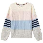 Tommy Hilfiger Cream Fluffy Colorblock Knit Sweater 5 years