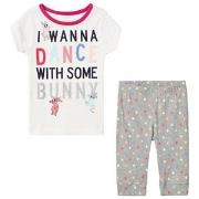 GAP White and Gray I Wanna Dance Spotted Pyjamas 4 år