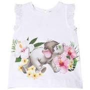 Monnalisa White Baby Elephant Print Tunic with Bow Back 6 months