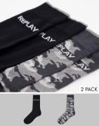 Replay casual 2 pack socks in black camo