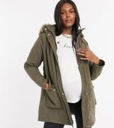 New Look Maternity longline parka jacket in khaki-Black