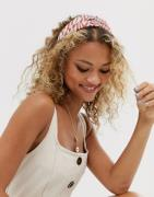 ASOS DESIGN headband with knot front in mixed colour animal print-Mult...