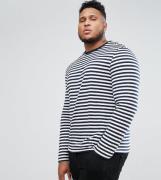 ASOS DESIGN Plus stripe long sleeve t-shirt in navy and white - Navy /...