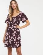 Vero Moda square neck floral button thru dress-Multi