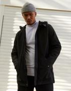 ASOS DESIGN parka jacket in black with fleece lining
