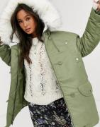 ASOS DESIGN luxe parka with faux fur lining in sage-Green